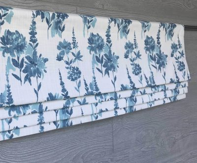 Garden (Traditional Monochromatic Florals) Faux Roman Shade Valance
