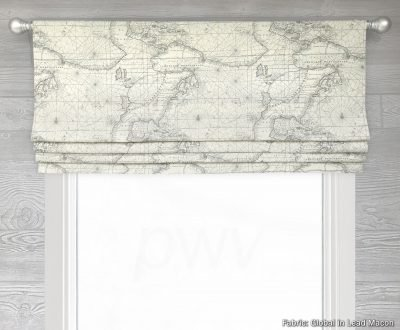 Global (World Map Print in Parchment) Faux Roman Shade Valance