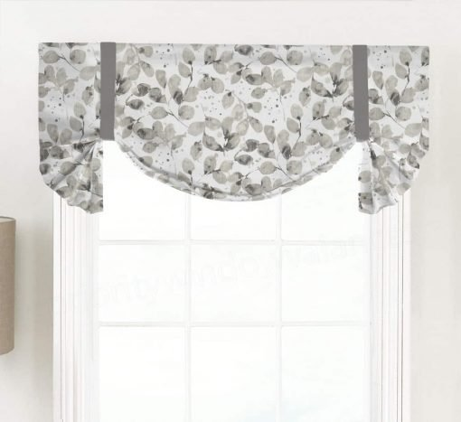 Grove (Modern Leaf in Blue and Gray) Tailed Balloon Valance