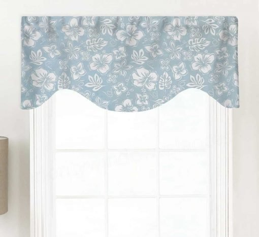 Hibiscus (Modern Oversized Florals) Shaped Valance Curtain