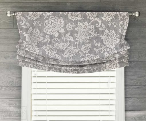 Hopedale (Jacobean Floral) Faux Relaxed Roman Balloon Valance