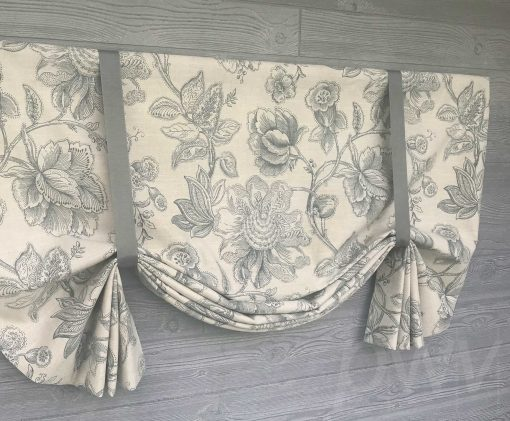 Inigo (Jacobean Floral on Natural Linen) Tailed Balloon Valance