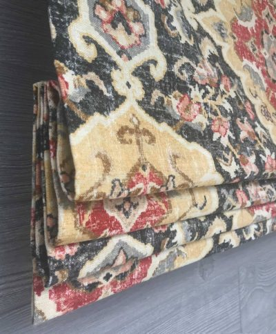 Jaipur (Oriental Floral Medallion in Black) Faux Roman Shade Valance