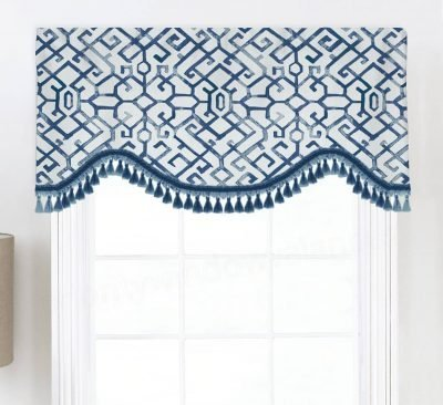 Jing (Chinoiserie Lattice) Shaped Valance Curtain