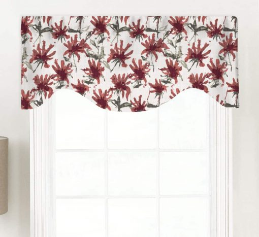 Kendal (Abstract Modern Florals) Shaped Valance Curtain