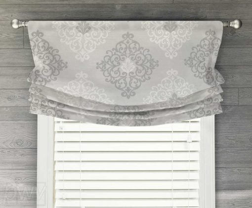 Lucid Damask Faux Relaxed Roman Balloon Valance
