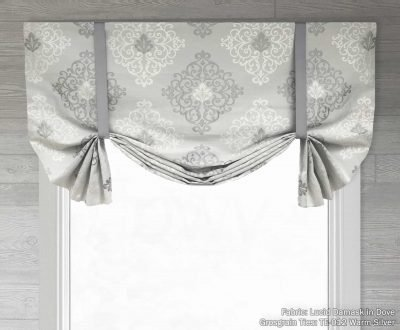 Lucid Damask (Faux Silk Medallion) Tailed Balloon Valance