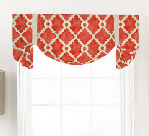 Madrid (Teal, Gray, Red) Tailed Balloon Valance