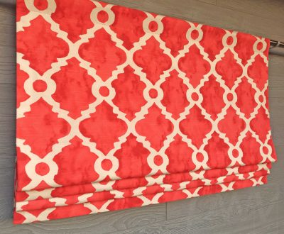 Madrid (Teal, Gray, Salmon Red) Faux Roman Shade Valance