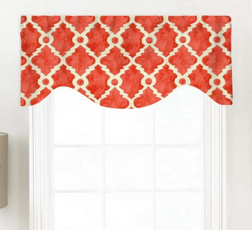 Madrid (Teal, Gray, Red) Shaped Valance Curtain