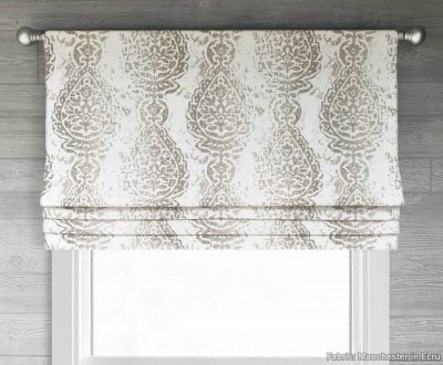Manchester (Distressed Print Floral Medallion) Faux Roman Shade Valance