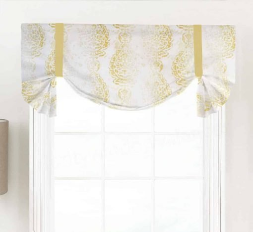 Manchester (Distressed Print Floral Medallion) Tailed Balloon Valance