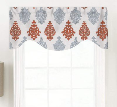 Millers Tale (Two Color Tone Filigree) Shaped Valance Curtain