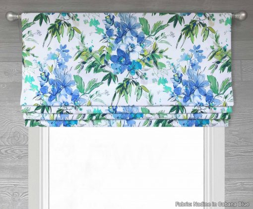 Nadine (Modern Watercolor Floral) Faux Roman Shade Valance