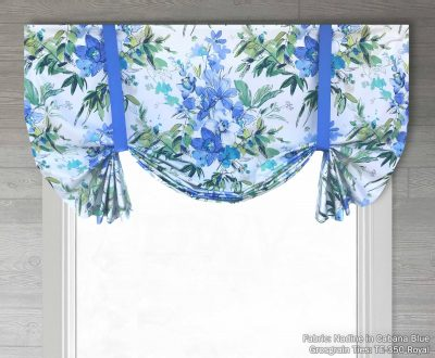 Nadine (Modern Watercolor Floral) Tailed Balloon Valance