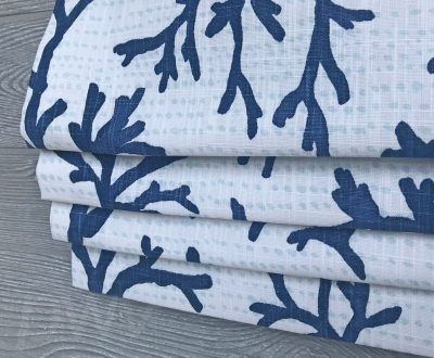 Naples (Coral Beach House in French Grey, Navy) Faux Roman Shade Valance