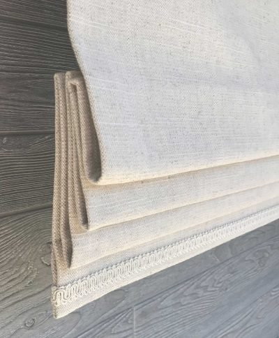 Antique White or Natural Solid Linen Faux Roman Shade Valance
