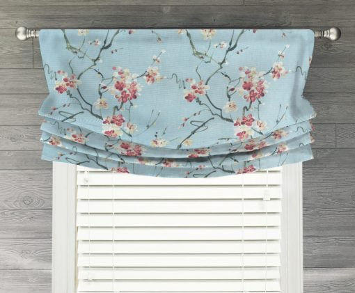 Nonomi (Floral in Robins Egg Blue) Faux Relaxed Roman Balloon Valance
