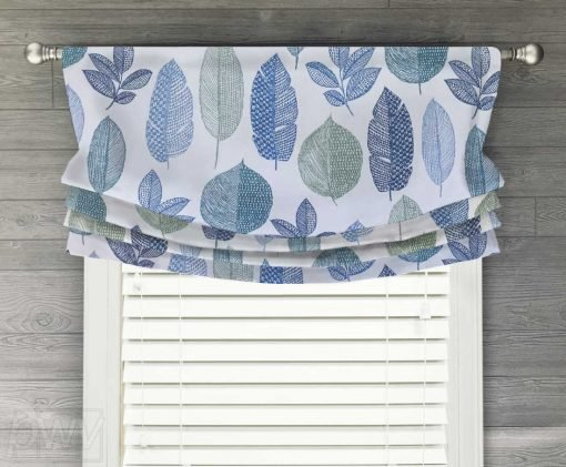 Rynell (Modern Leaf Motif) Faux Relaxed Roman Balloon Valance
