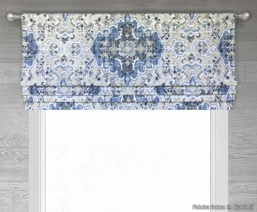 Sabra (Tribal Floral Medallion in French Blue or Gray) Faux Roman Shade Valance