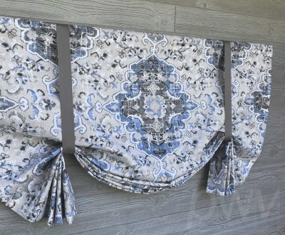 Sabra (Tribal Floral Medallion in French Blue or Gray) Tailed Balloon Valance