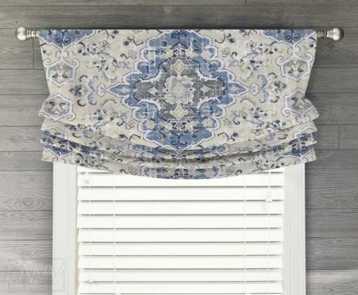 Sabra (Tribal Floral Medallion in French Blue or Gray) Faux Relaxed Roman Balloon Valance