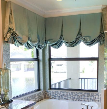 Spa Blue Valance in Bathroom