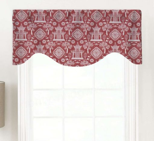 Spirit (Traditional Chinoiserie Toile) Shaped Valance Curtain