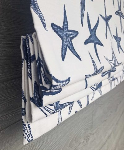 Starfish (Blue White Beach Coastal) Faux Roman Shade Valance