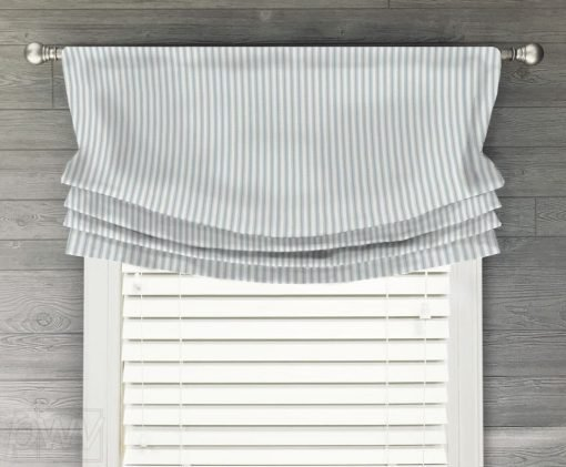 Classic (Country Ticking Stripe) Faux Relaxed Roman Balloon Valance
