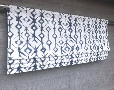 Tribal (Modern Diamonds in Blue or Neutral) Faux Roman Shade Valance