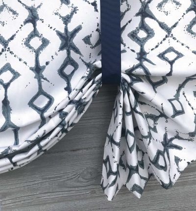 Tribal (Modern Diamonds in Blue or Neutral) Tailed Balloon Valance