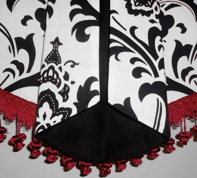 Black, Red, White Valance Curtain