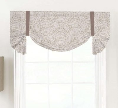 Vision (Modern Ogee in Tan, Black) Tailed Balloon Valance
