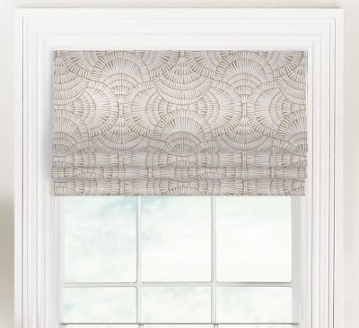 Vision (Modern Tribal Ogee in Tan, Black) Faux Roman Shade Valance