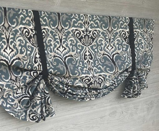 Winchester Ikat (Midnight Blue or Neutrals) Tailed Balloon Valance